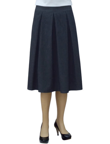 Women's Retro Pleated Ultrasoft Light Weight Denim Skirt