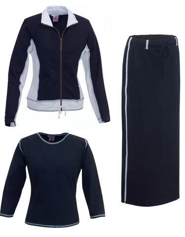 Turkish Cotton French Terry Three Piece Athletic Jacket Ankle Length Skirt Set Blue Gray