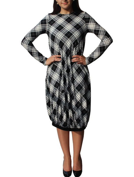 Women's Peach Skin Jersey Knit Plaid Bubble Dress