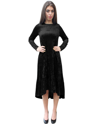 Women's Crushed Velvet Hi-Lo Ruffle Bottom Dress