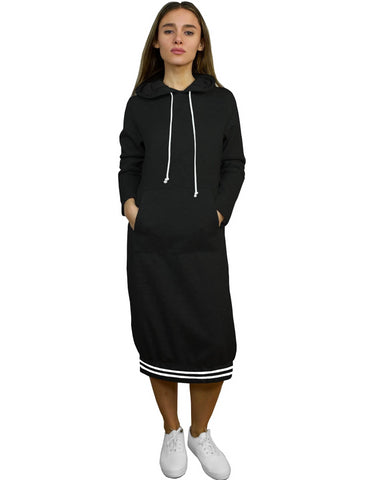 Women's Stripe Trimmed Sweatshirt Hoodie Dress