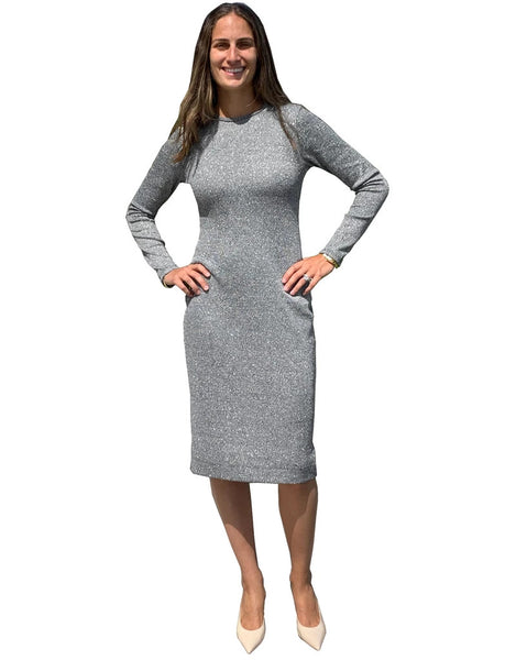 super  fitted metallic Modest shell dress silver