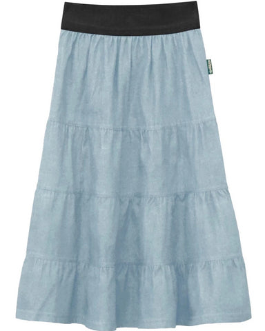 Girl 4 Tiered Lightweight Denim Mid-Calf Skirt Light Blue