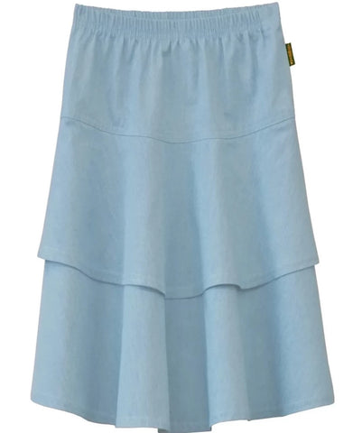 Girl's Lightweight 2 Layered Denim Knee Length Skirt Light Blue