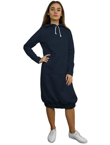 Super Comfy Hoodie Sweatshirt Bubble Modest Dress Navy