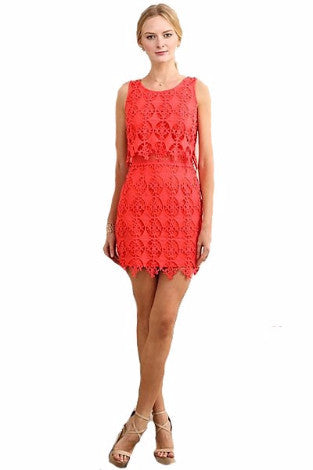 c53234032891 Coral Red Sleeveless Crop Lace Dress