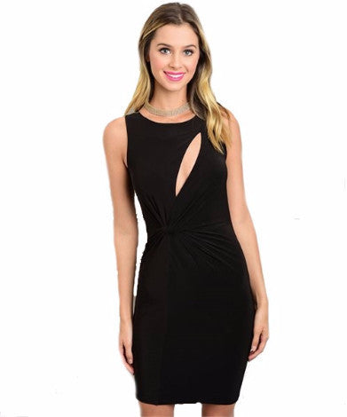 Fitted Black Dress with Cleavage Cut Out 7b5259d6ec9c