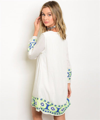 692ab1f14a95 White Lime Royal Embroidery Dress