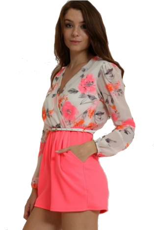 95f290039602 PINK AND BEIGE FLORAL ROMPER - - 1 ...
