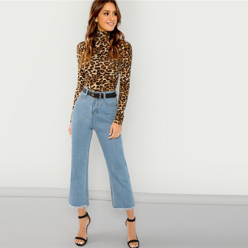 SHEIN Brown Highstreet Office Lady High Neck Leopard Print Fitted Pullover e82107b3d8b5