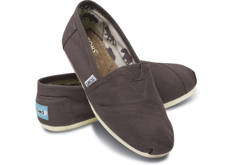 TOMS Womens Gray Canvas Slip On Casual Shoes Size 9
