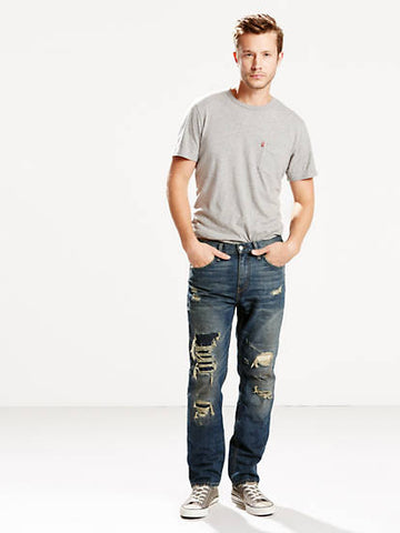 Levi's Mens 511 1929 Slim Fit Ripped Dark Blue Fashion Denim Jeans Size 32 x 30
