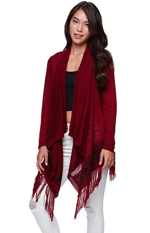 Red Drape Open Front Fringe Cardigan Sweater Size XS - Designer-Find Warehouse