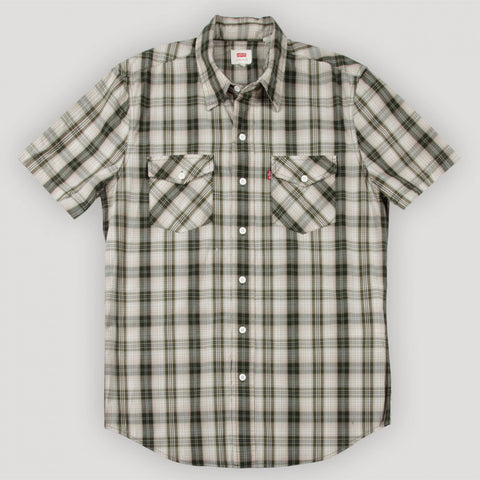 Levi's Mens Green Plaid Woven Cotton S/S Button Front Shirt Size XL - Designer-Find Warehouse