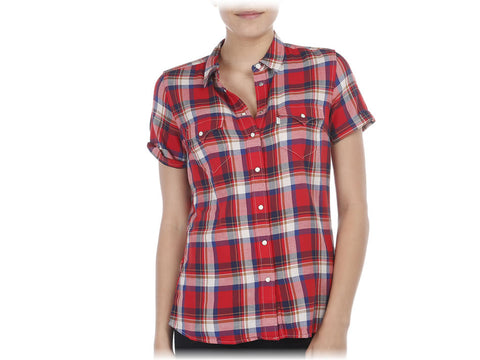 Levi's Womens Classic Fit Red Plaid Button Front Pearl Snap S/S Causal Shirt Size XL - Designer-Find Warehouse