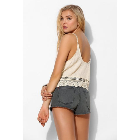 Ecote Low-Back Crochet-Trim Cami Crop Top Size M - Designer-Find Warehouse - 1