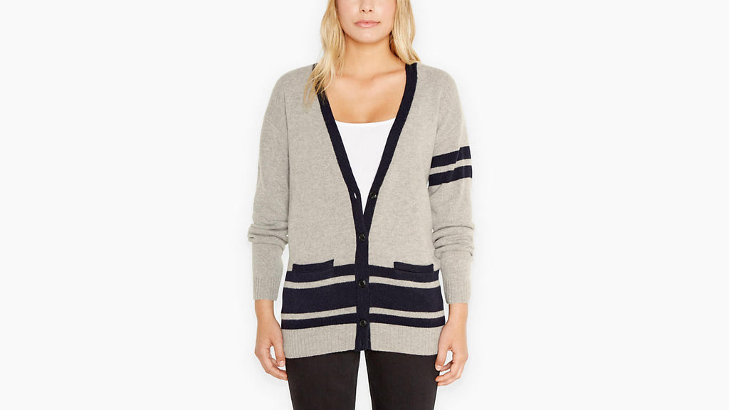 Levi\u0027s Wool Striped Boyfriend Fit V,Neck Cardigan Sweater Size XS
