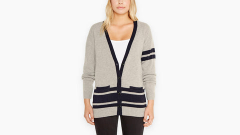 Levi's Wool Striped Boyfriend Fit V-Neck Cardigan Sweater Size XS