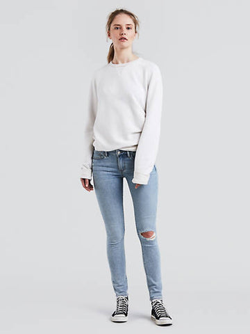 Levi's 711 0261 Womens Light Blue Ripped Knees Skinny Jeans Size 2M / 26 x 30