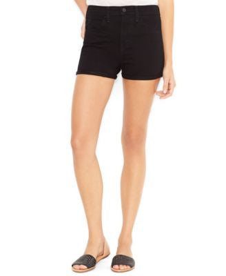 Levi's Juniors Black Cuffed High-Waist Denim Shorts Size 5 - Designer-Find Warehouse - 1