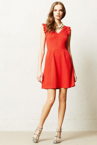 Anthropologie Red Teahouse Dress By Tabitha Size 12 - Designer-Find Warehouse - 1