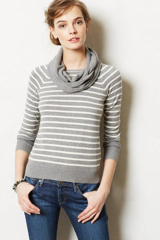 Anthropologie Change Of The Moon Gray Striped Pointelle Cowlneck Sweater Size XS - Designer-Find Warehouse - 1
