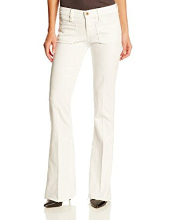 Lucky Brand Womens White Distressed Charlotte Kick Flare Jeans Size 26 - Designer-Find Warehouse - 1