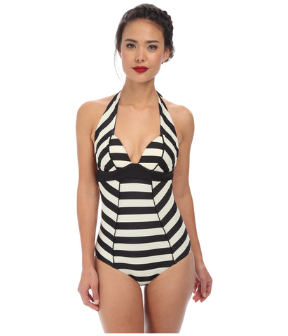 Unique Vintage Womens Ivory & Black Audrey One-Piece Swimsuit Size XXL - Designer-Find Warehouse - 1