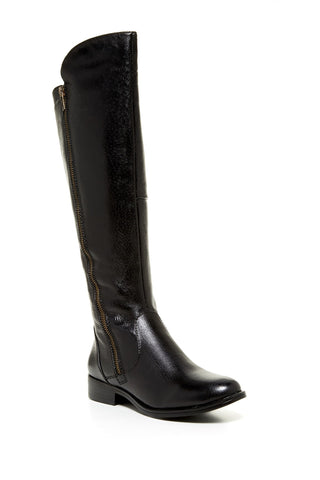 Steve Madden Black Leather Shandi Tall Riding Boots Size 6 - Designer-Find Warehouse - 1