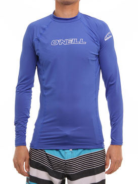 O'Neill Mens Blue L/S Basic Crew Rashguard In Pacific Size Large - Designer-Find Warehouse - 1