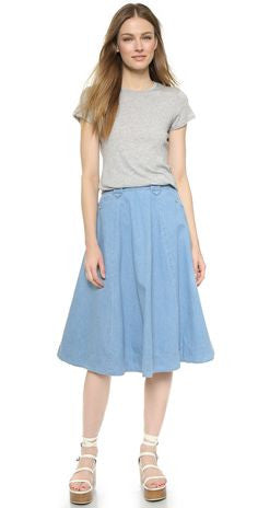 Levis Womens Vintage Sky Blue Casual A-Line Knee Length Skirt  Size 10 - Designer-Find Warehouse - 1