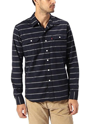 Levi's Mens Navy Striped Classic Flap Pocket Chest Casual Shirt Size Small - Designer-Find Warehouse