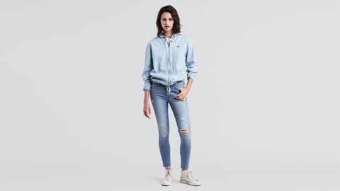 Levi's Wedgie Skinny Light Blue Ripped Denim Slim Skinny Denim Jeans Size 00M / 24 x 27