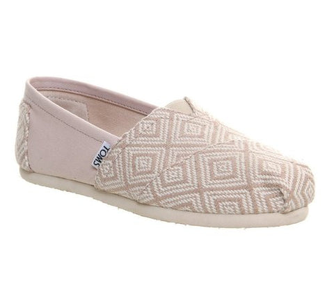TOMS Womens Diamond Woven Whisper Beige Canvas Slip-On Shoes Size 6.5 - Designer-Find Warehouse - 1