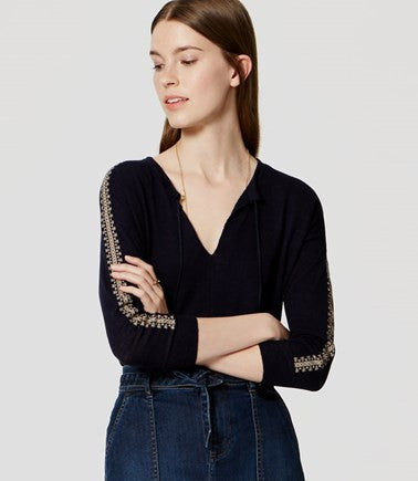 Ann Taylor LOFT Navy V-Neck Peasant Embroidered Blouse Knit Top Size Small - Designer-Find Warehouse - 1