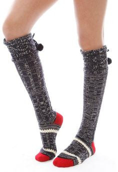Free People Marled Knit Navy Pom Pom Slipper Socks - Designer-Find Warehouse