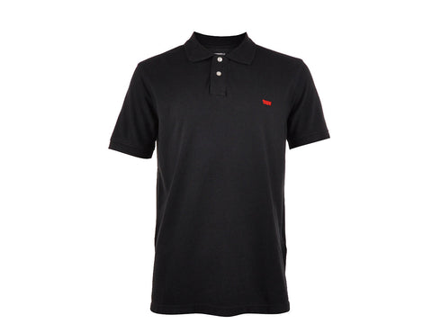 Levi's Mens Black Pique Knit Logo Embroidered Classic Polo Shirt Size Small - Designer-Find Warehouse