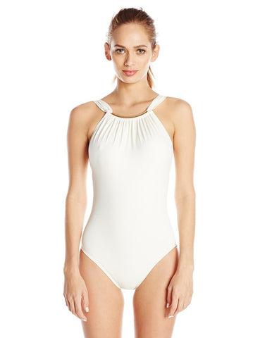 Vince Camuto Women's Crescent Resort High-Neck One-Piece Swimsuit Size 6 - Designer-Find Warehouse - 1