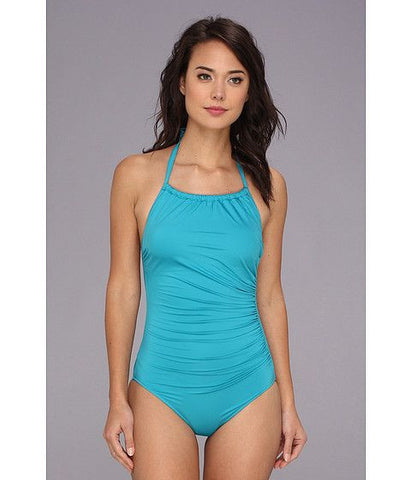Badgley Mischka Womens Blue Shirred Side Solids High Neck Maillot One Piece Swimsuit Size 10 - Designer-Find Warehouse - 1