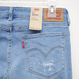 Levi's 711 0325 Womens Light Blue Ripped Knees Skinny Jeans Size 4M / 27 x 30