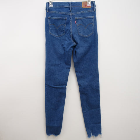 Levi's 720 0034 Womens Medium Blue Ripped High Rise Skinny Denim Jeans Size 6M / 28 x 30