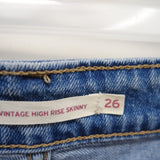 Levi's 721 0003 Womens Light Blue Wash Vintage High Rise Skinny Jean Size 2M / 26 X 32