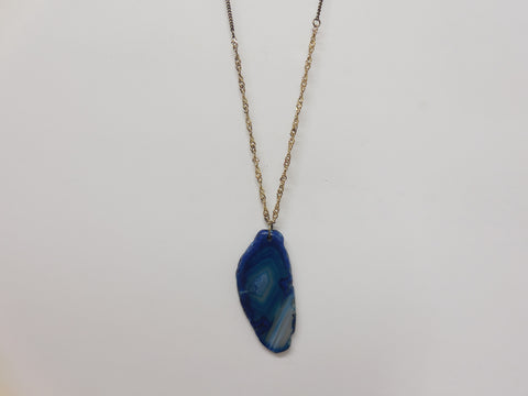 Blue Geode Pendant Necklace - Designer-Find Warehouse - 1