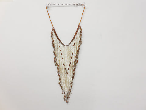 Free People Beaded Fringe Asymmetrical Bib Statement Necklace - Designer-Find Warehouse - 1