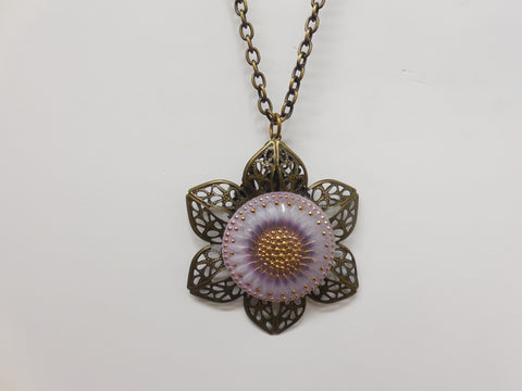 Brass Toned Flower Floral Pendant Necklace - Designer-Find Warehouse - 1