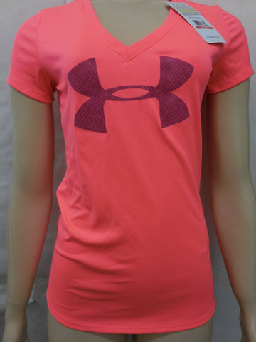 Under Armour Womens Pink Heatgear Semi Fitted V-Neck Tee T-Shirt Size L - Designer-Find Warehouse - 1