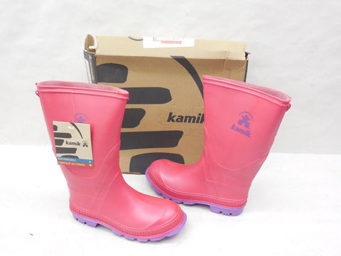 Kamik Kids Stomp Pink & Purple Rainboots Wellies Size 2 - Designer-Find Warehouse - 1