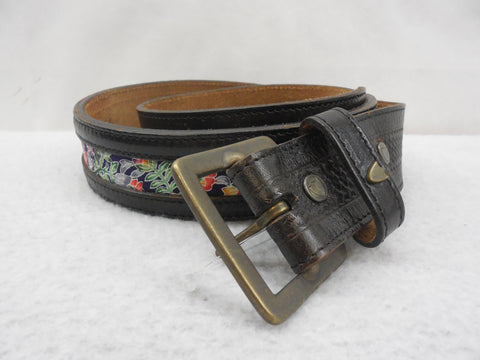 Free People Belt Leather Floral Fabric Inlay belt Size Medium - Designer-Find Warehouse