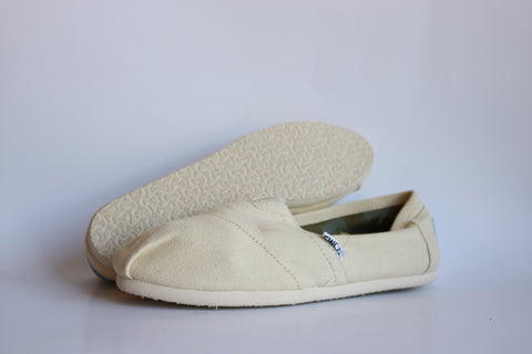 Toms Womens Classic Natural Canvas Light Beige Ballet Flats Slip On Casual Shoes Size 7 - Designer-Find Warehouse - 1