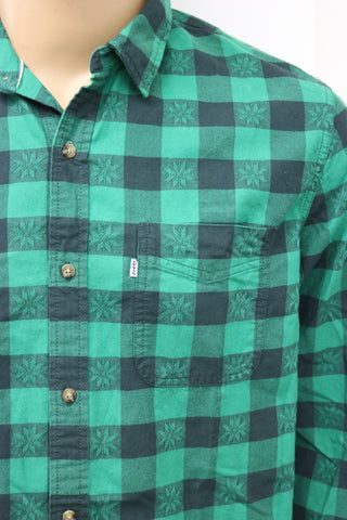 LEVI'S Mens Green Fair Isle Plaid Long Sleeve Button Front Causal Shirt Size XL - Designer-Find Warehouse - 1
